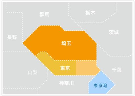 埼玉県と東京都周辺の地図